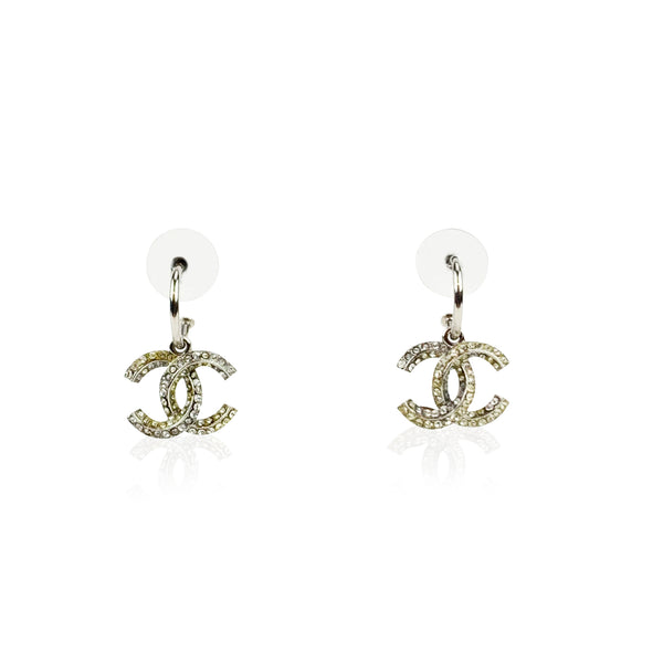 Chanel Silver Metal Rhinestones CC Logo Dangle Earrings