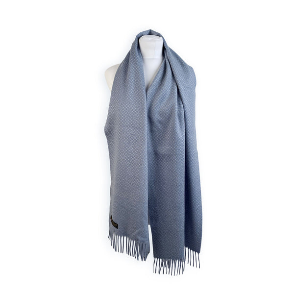 Loro Piana Vintage Light Blue Reversible Cashmere Large Scarf