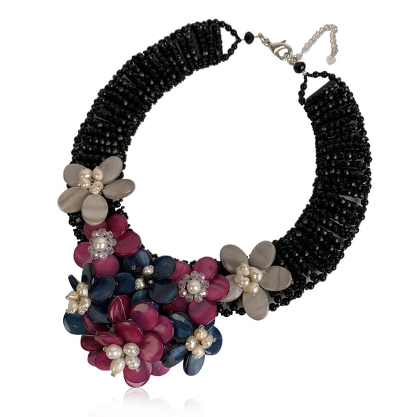 Handmade in Italy Glass Beads Floral Statement Necklace