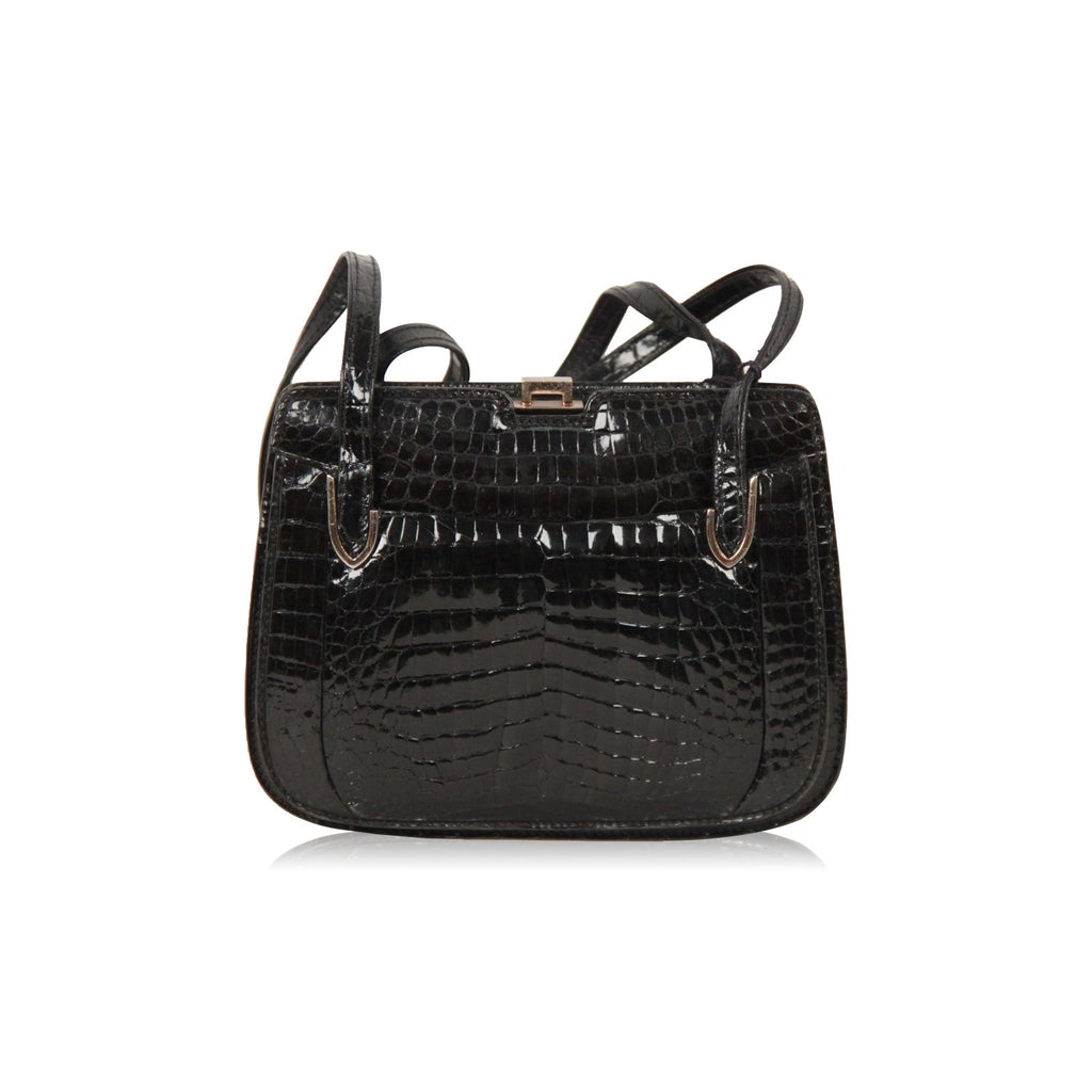 Gucci Vintage Black Crocodile Leather Shoulder Bag Handbag