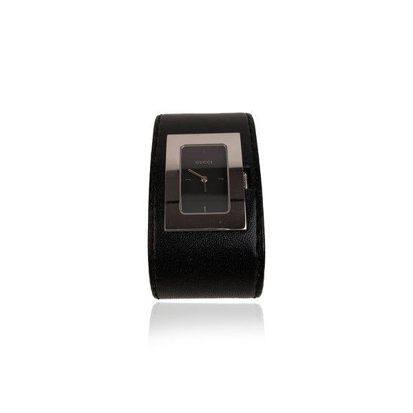 Gucci Black Leather Cuff Wrist Watch Mod. 7800 L