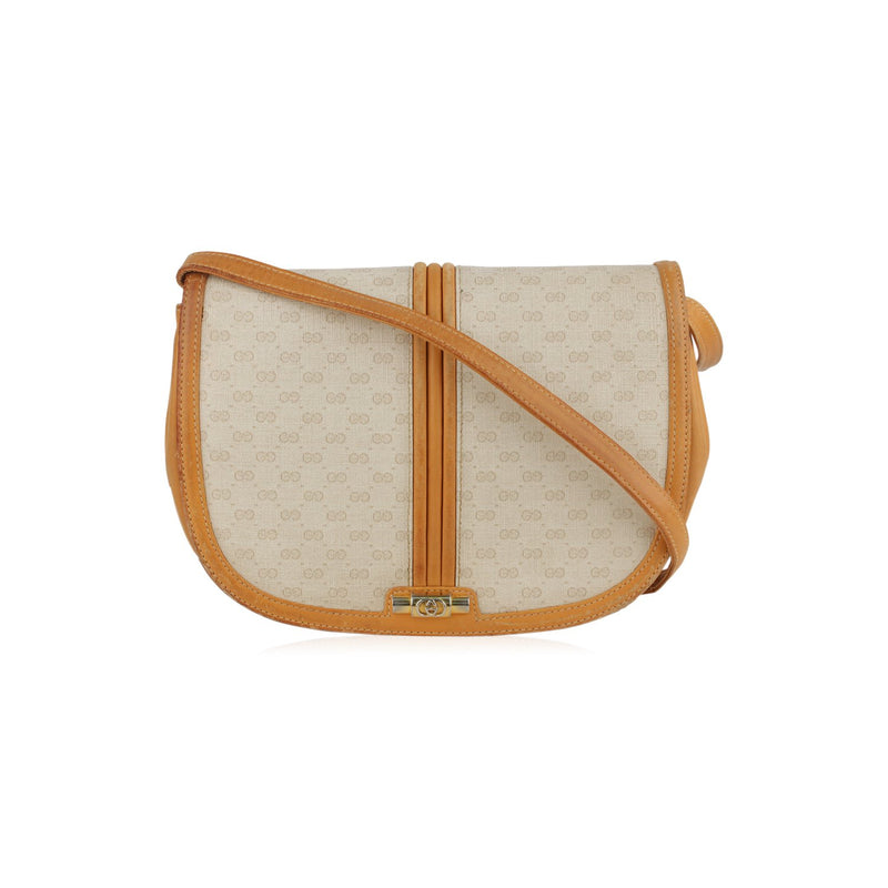 Gucci Vintage White Monogram Canvas Crossbody Messenger Bag