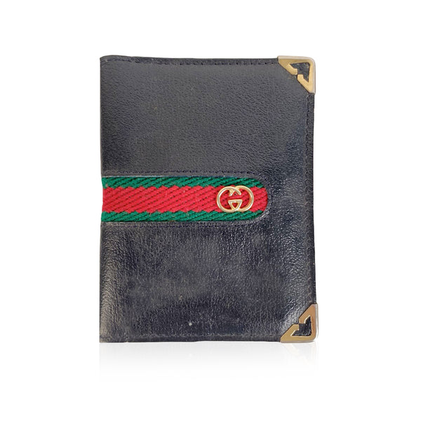 Gucci Vintage Blue Leather Bifold Card Holder with Stripes