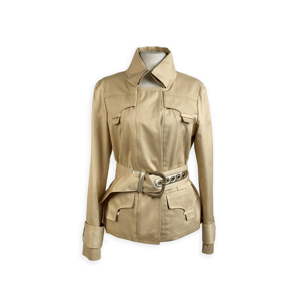 Gucci Beige Cotton Sahariana Jacket with Belt Size 40