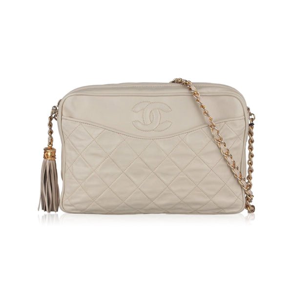 Chanel Vintage Ivory Quilted Leather CC Stitch Camera Bag Tassel
