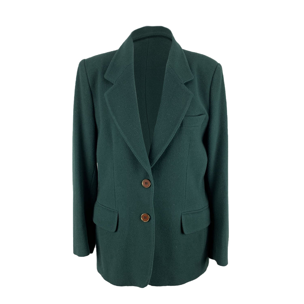 Vintage Green Wool and Cashmere Blazer Jacket Size 44 IT