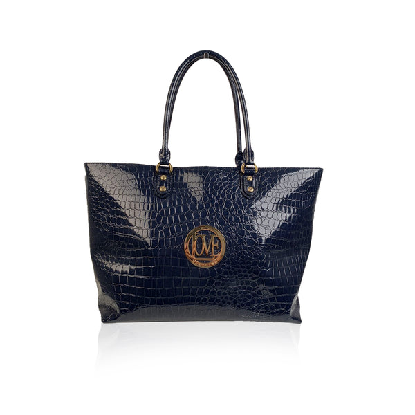Love Moschino Blue Embossed Croc Look Patent Leather Tote Bag