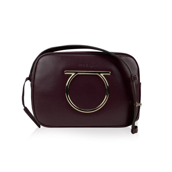 Salvatore Ferragamo Burgundy Leather Gancino Vela CC Shoulder Bag