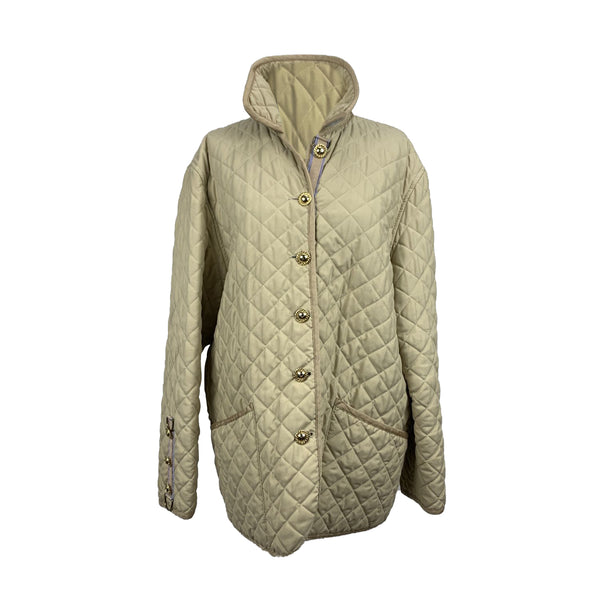 Dasca Cortina Beige Polyester Quilted Jacket Padded Windcheater Size L