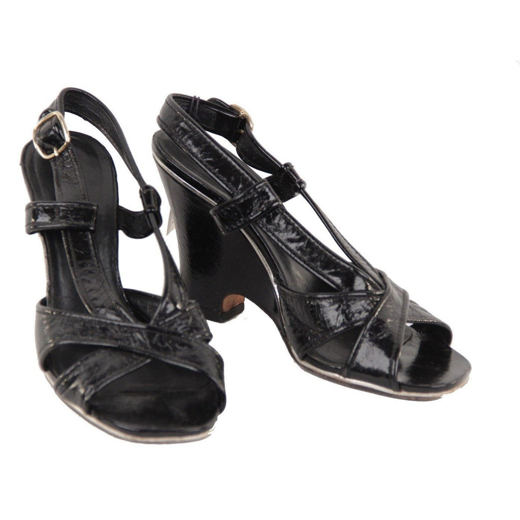 Marc by Marc Jacobs Black Leather Wedge Sandals Shoes 39.5 - OPHERTY & CIOCCI