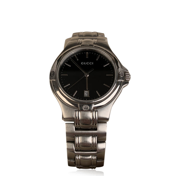 Gucci Stainless Steel Mod 9040M Wrist Watch Black Dial