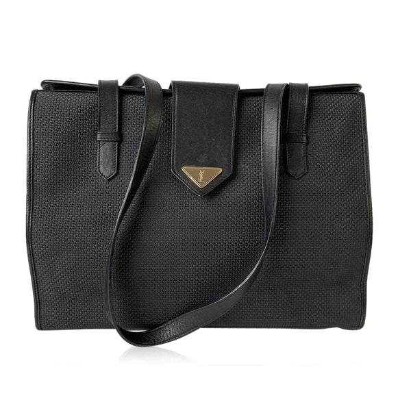 Yves Saint Laurent Vintage BlackTextured Canvas Tote Shoulder Bag