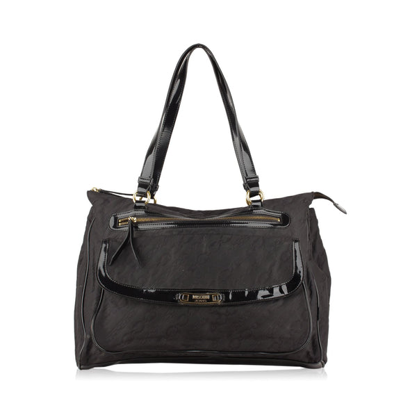 Moschino Tote Shoulder Bag with Patent Trim