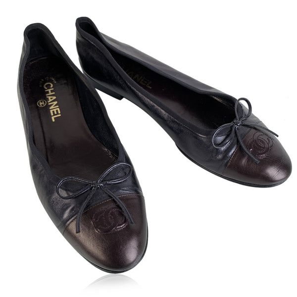 Chanel Black Leather Ballet Flat Ballerina Shoes Size 41