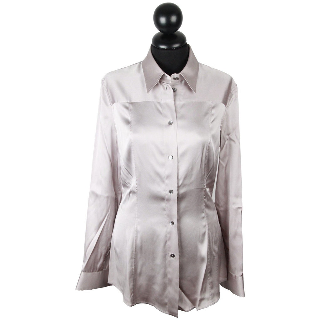 Dolce & Gabbana Light Gray Satin Button Down Shirt Blouse Top - OPHERTY & CIOCCI