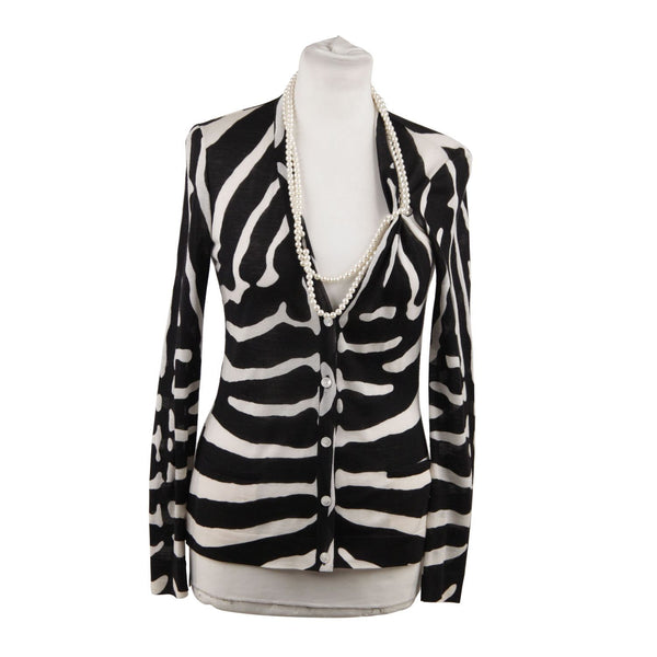 Christian Dior Wool And Silk Zebra Cardigan Faux Pearl Necklace