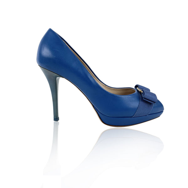 Salvatore Ferragamo Blue Open Tote Pumps Size US 6 C