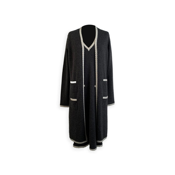 Chanel Gray Cashmere Long Cardigan and Dress Set Size 42 FR