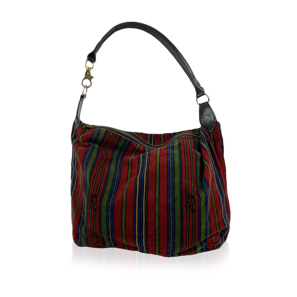 Roberta Di Camerino Vintage Red Striped Velvet Hobo Shoulder Bag