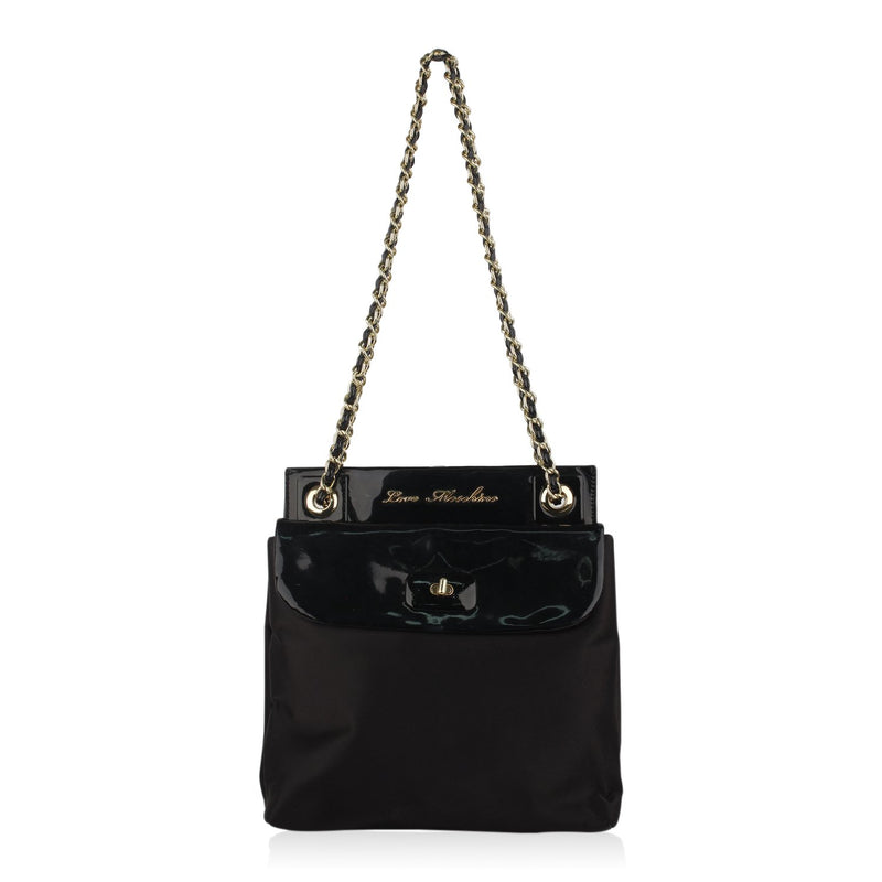 Love Moschino Satin and Vinyl Tote Shoulder Bag