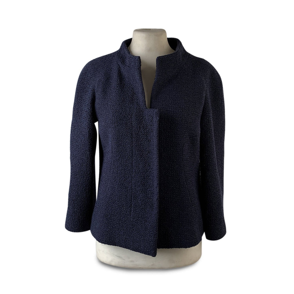 Chanel Navy Blue Bouclé Round Neck Blazer Jacket Size 34 - OPHERTY & CIOCCI