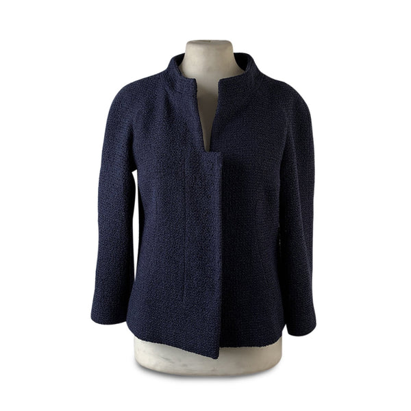 Chanel Navy Blue Bouclé Round Neck Blazer Jacket Size 34
