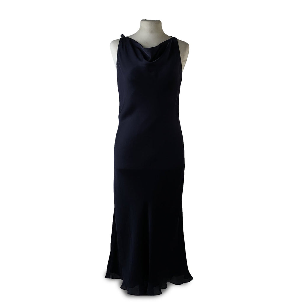 Ralph Lauren Blue Silk Sleeveless Dress with Frills Size 12