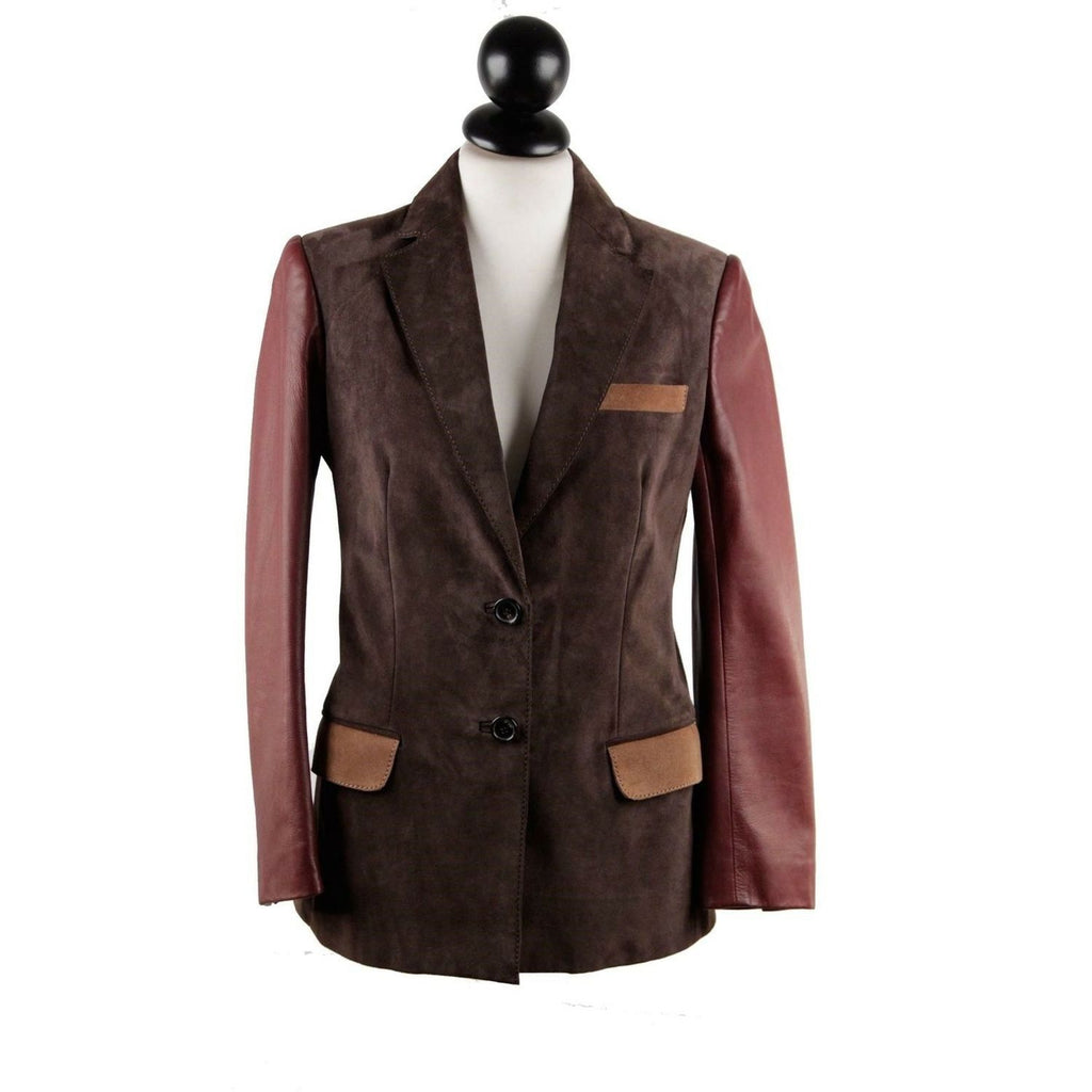 Couture Du Cuir Brown Panelled Suede and Leather Blazer Jacket Size 40 - OPHERTY & CIOCCI