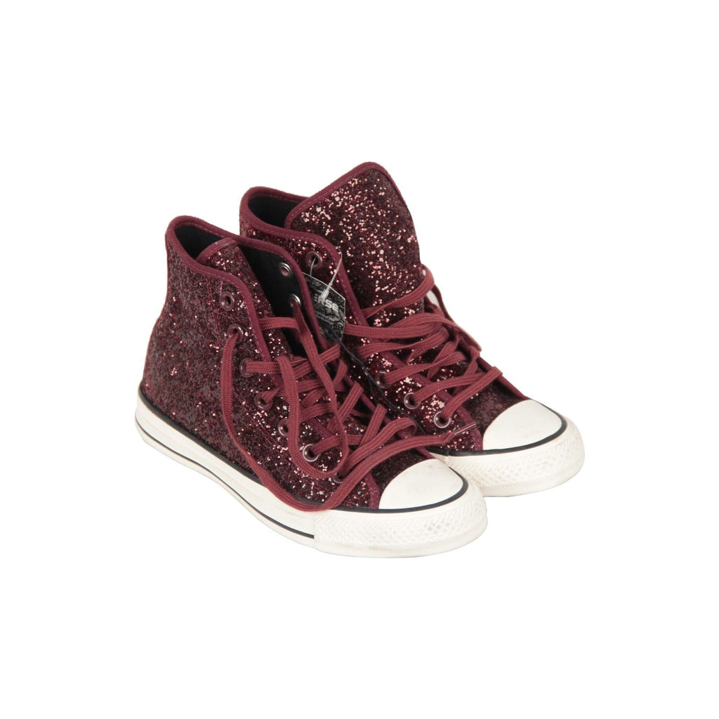 Converse All Star Chuck Taylor Burgundy High Port Glitter Sneakers Size 5.5 US
