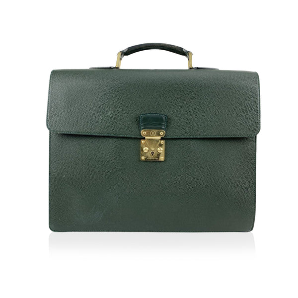 Louis Vuitton Green Taiga Leather Robusto 2 Compartment Briefcase