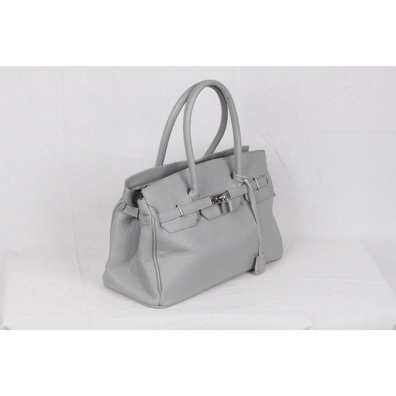Gray Large Leather Top Handles Satchel Bag