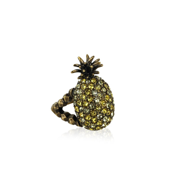 Gucci Gold Metal Embellished Crystal Pineapple Ring Size L Never Worn