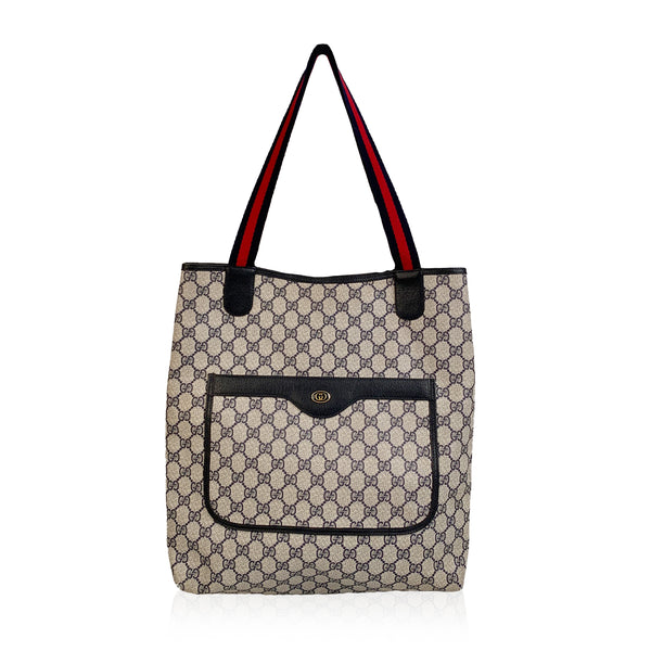 Gucci Vintage Blue GG Monogram Canvas Shopping Bag Tote
