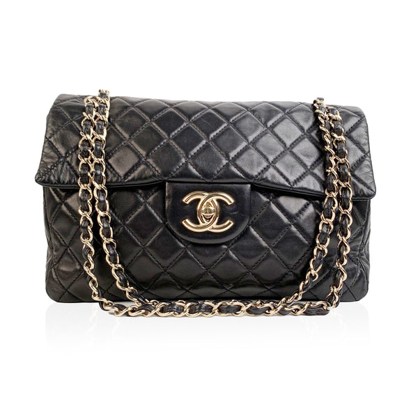 Chanel Black Quilted Leather Jumbo Classic Flap 2.55 Shoulder Bag