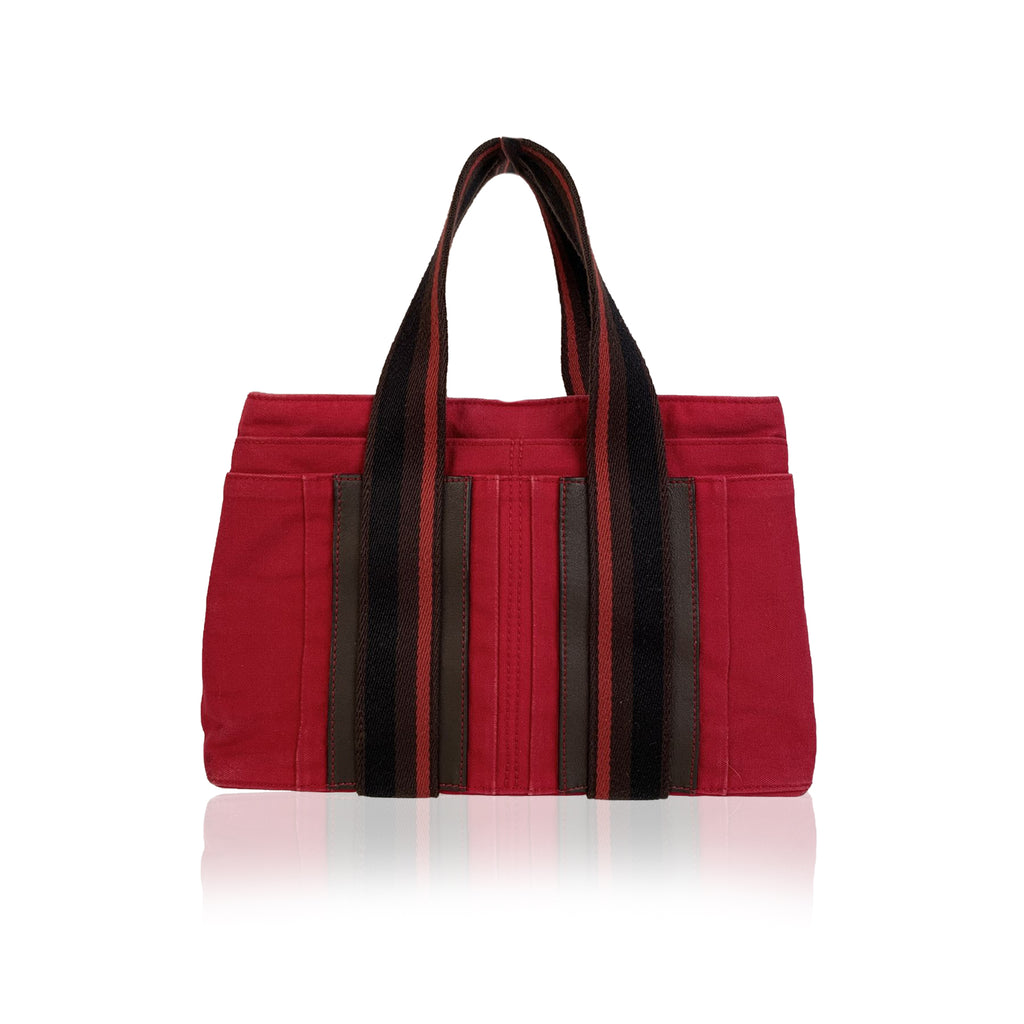 Hermes Paris Red Canvas Horizontal Troca PM Tote Bag Handbag
