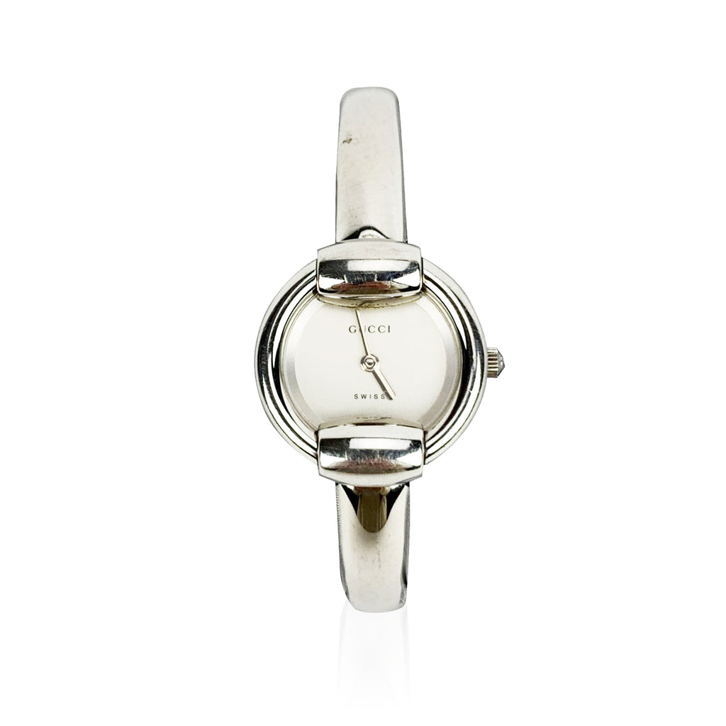 Gucci Vintage Stainless Steel Mod 1400 L Wrist Watch White Dial