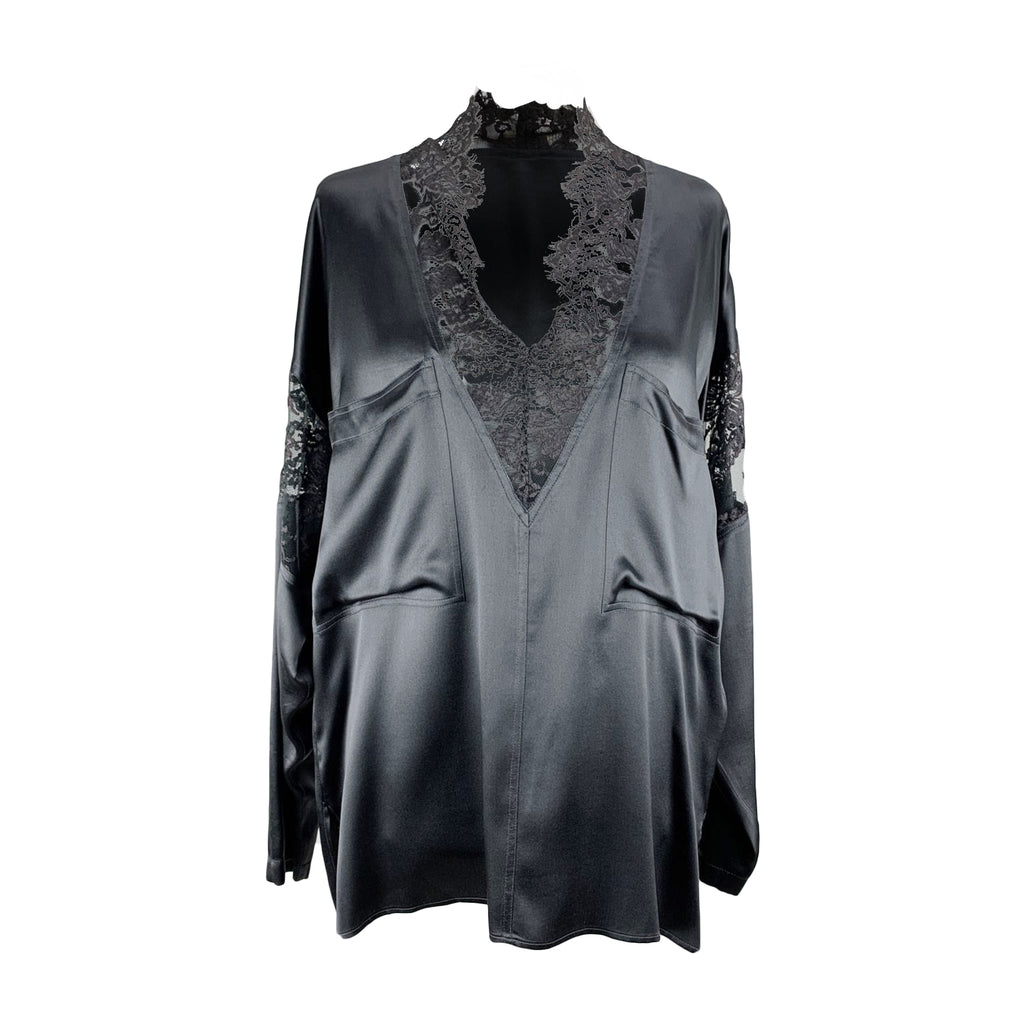 Luciano Soprani Vintage Black Silk Blouse with Lace Size 44 IT