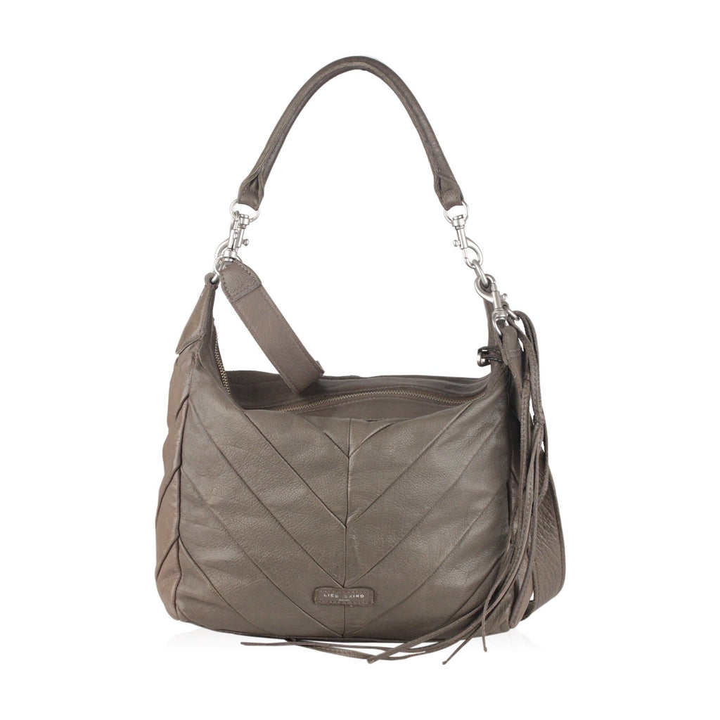 Liebeskind Beige Gray Leather Chevron Ania Hobo Shoulder Bag