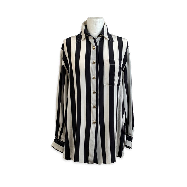 Valentino Vintage Striped Silk Button Down Shirt Size 44