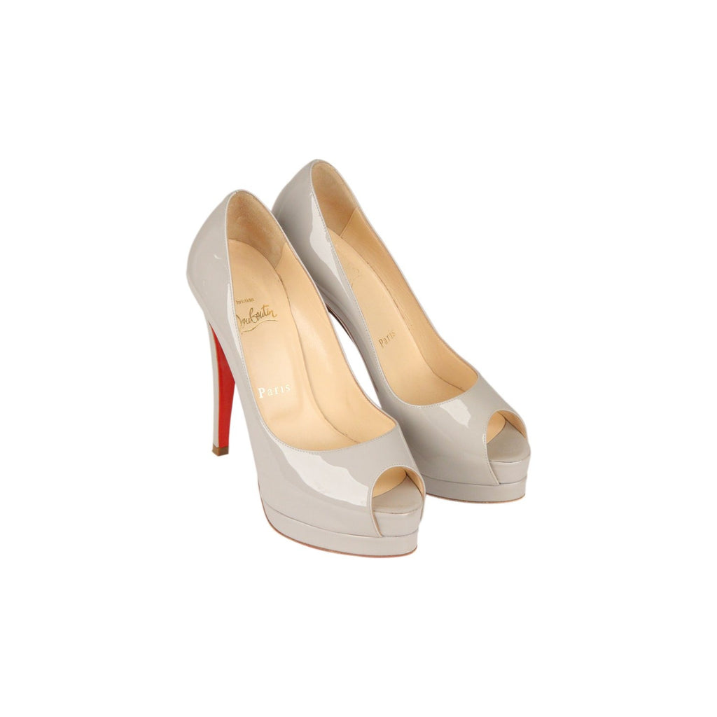 CHRISTIAN LOUBOUTIN Gray Patent Leather Altadama140 Heels 36