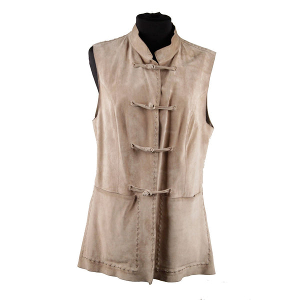 Prada Beige Suede Sleeveless Jacket Gilet Vest with Toggles Size 40