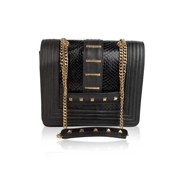Gedebe Black Leather Bibi Shoulder Bag with Studs
