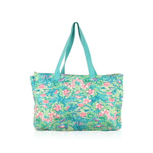 Vintage Frog Print Cotton Beach Bag