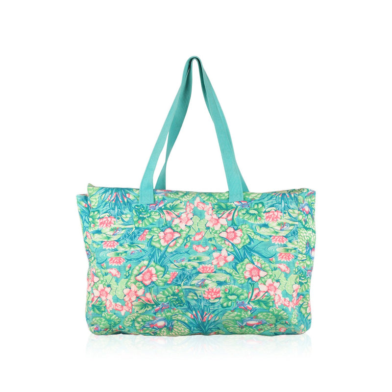 Hermes Vintage Frog Print Cotton Beach Bag