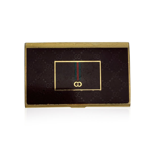Gucci Vintage Brown Monogram Metal Business Card Case Holder