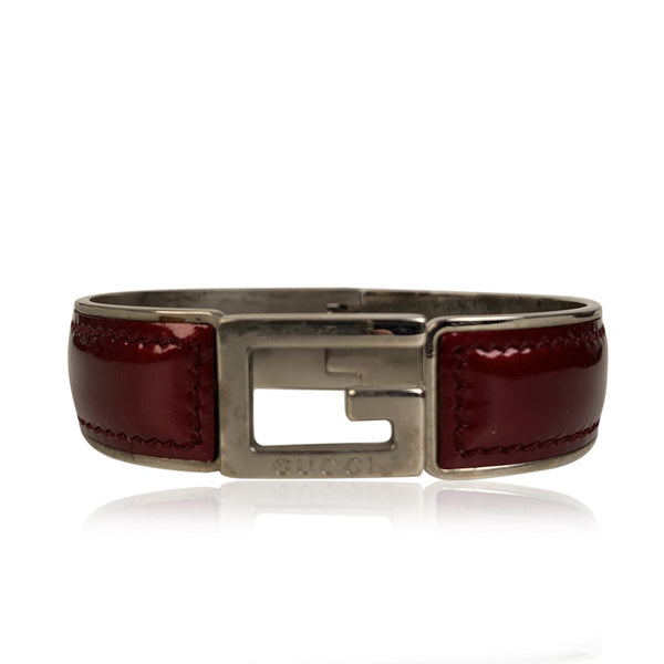 Gucci Stainless Steel Burgundy Patent Leather G Logo Bracelet