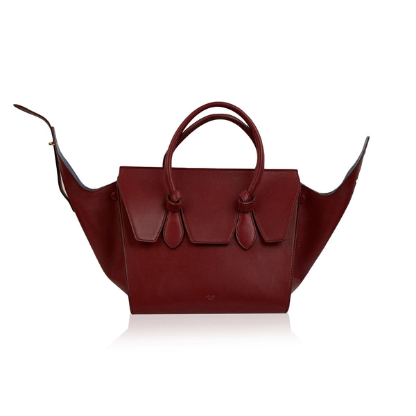 Celine Burgundy Leather Tie Knot Bag Tote Satchel