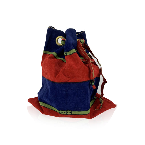 Roberta Di Camerino Vintage Red and Blue Velvet Drawstring Sachet Bag