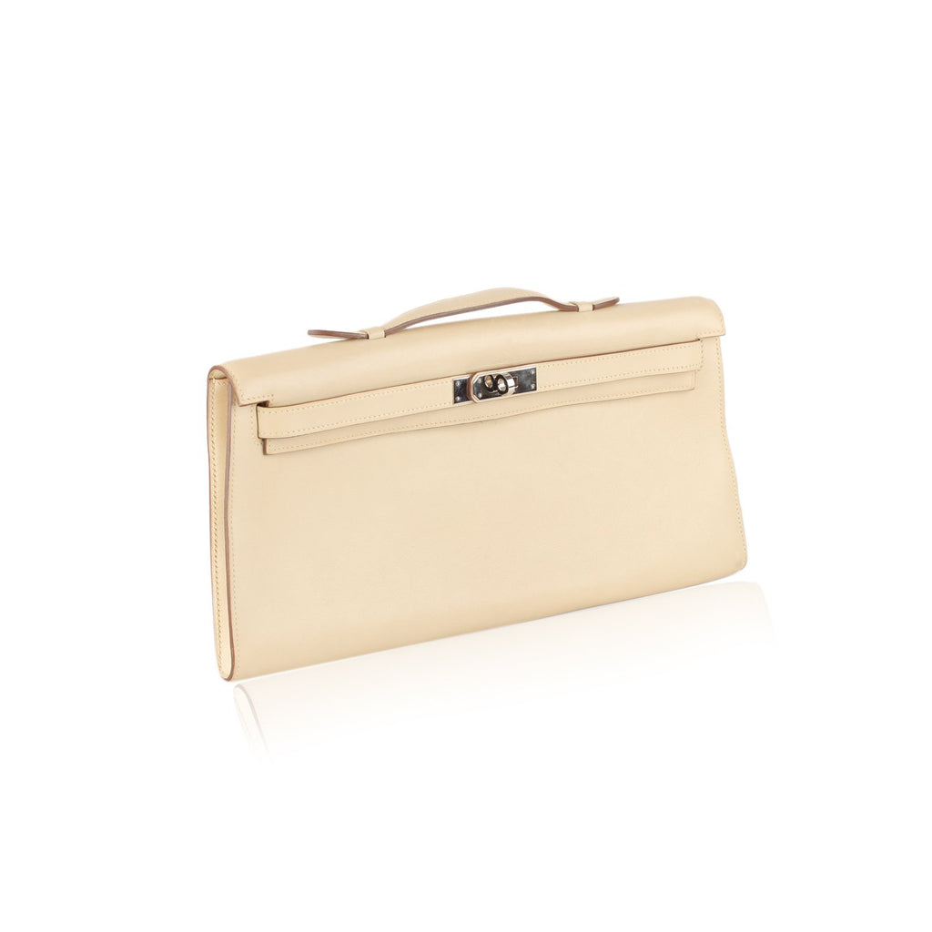 Hermes Beige Leather Kelly Cut Clutch Bag Rare Pochette Handbag - OPHERTY & CIOCCI