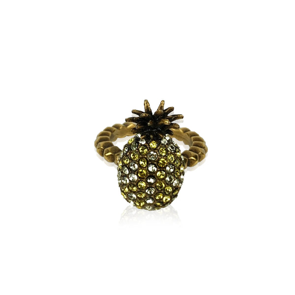 Gucci Gold Metal Embellished Crystal Pineapple Ring Size M Never Worn